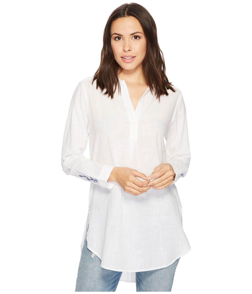 Jag Jeans - Back Button Magnolia Tunic in White (White) Womens Long Sleeve Button Up