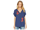 Miss Me Miss Me V-Neck Floral Embroidered Top