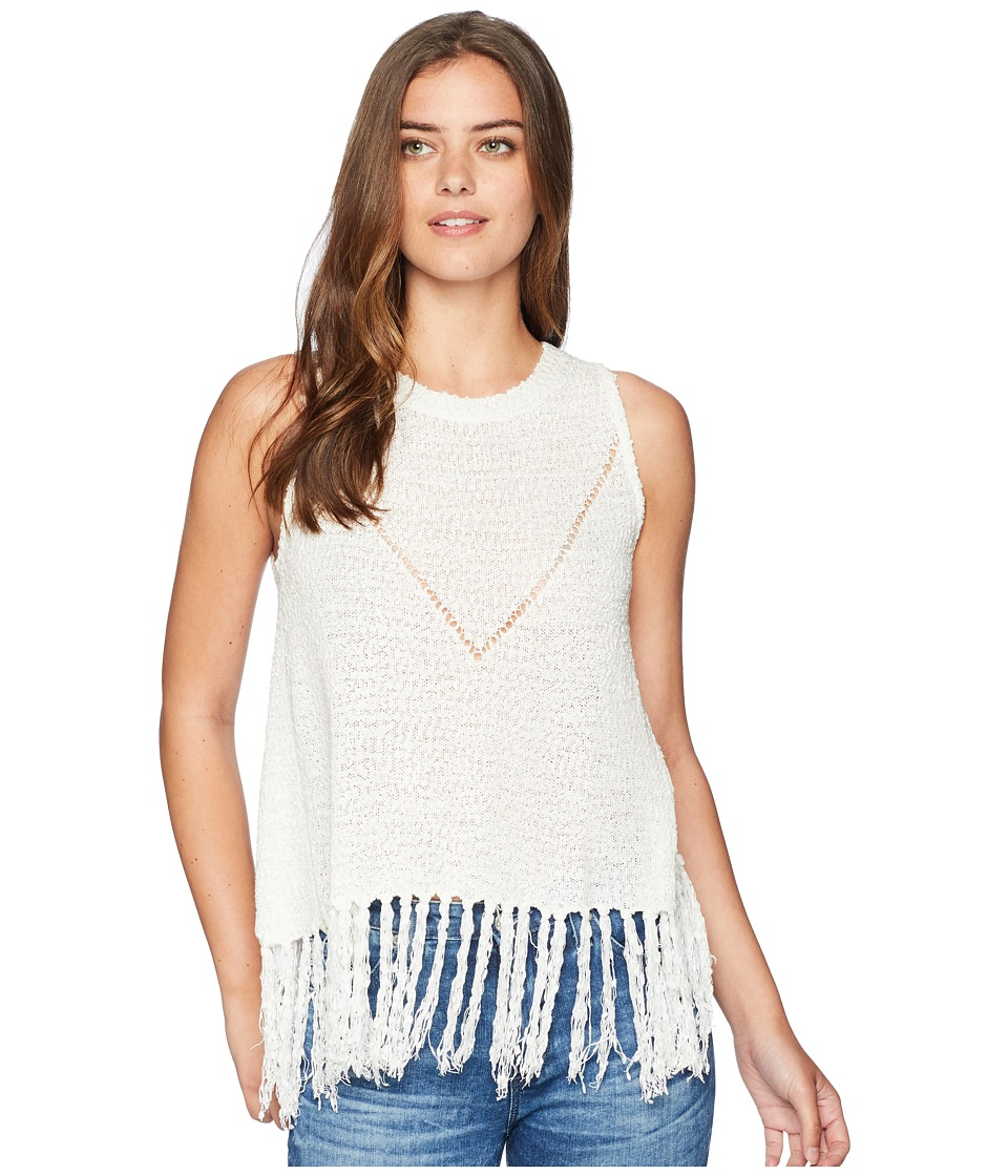 Miss Me - Loose Knit Fringe Top (White) Womens Clothing