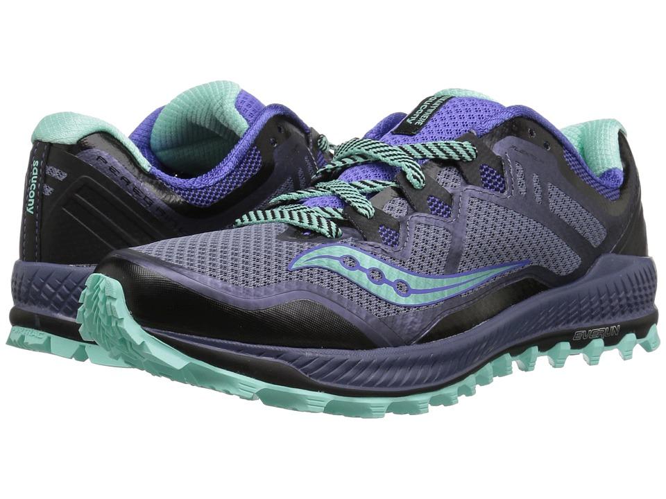 Saucony Peregrine 8 (Grey/Violet/Aqua) Women's Running Shoes