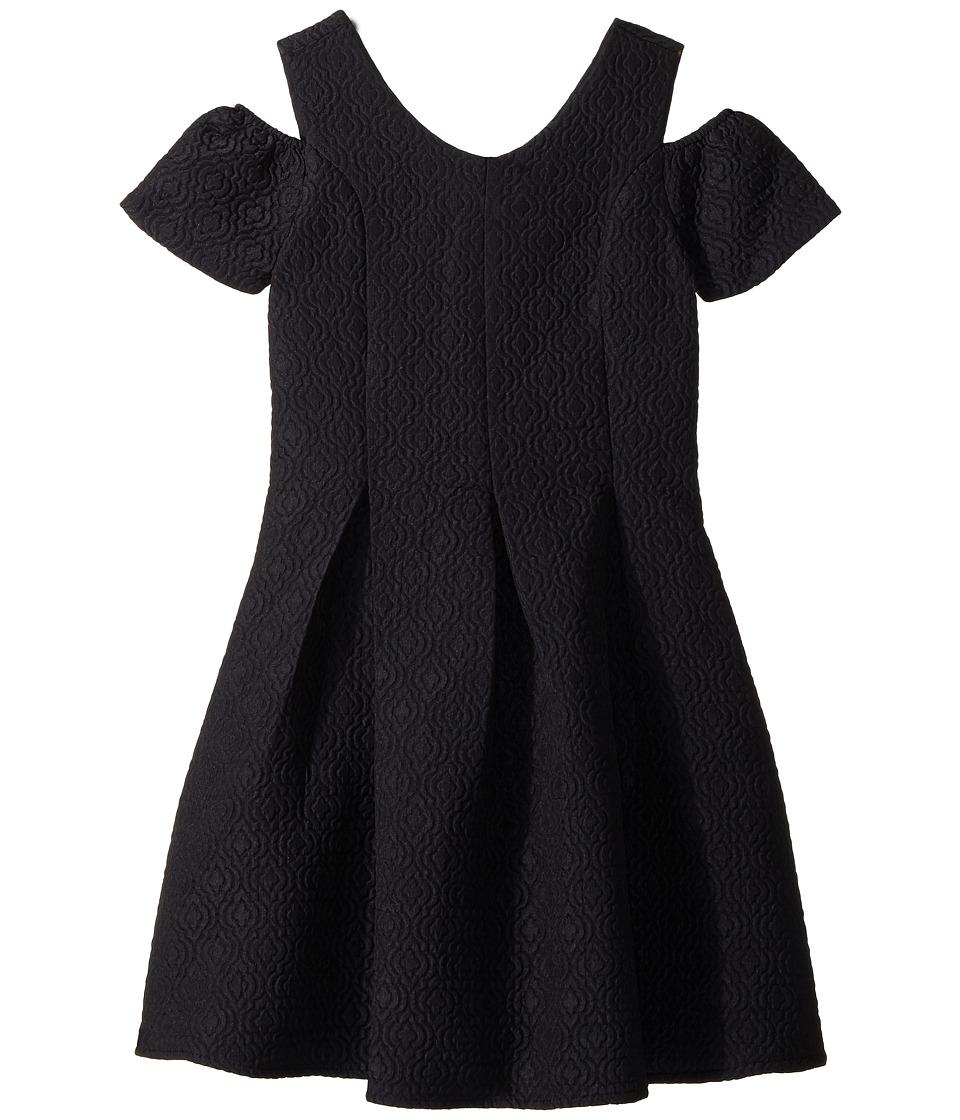 Us Angels - Cold Shoulder Fit Flare Brocade Dress (Big Kids) (Navy) Girls Dress