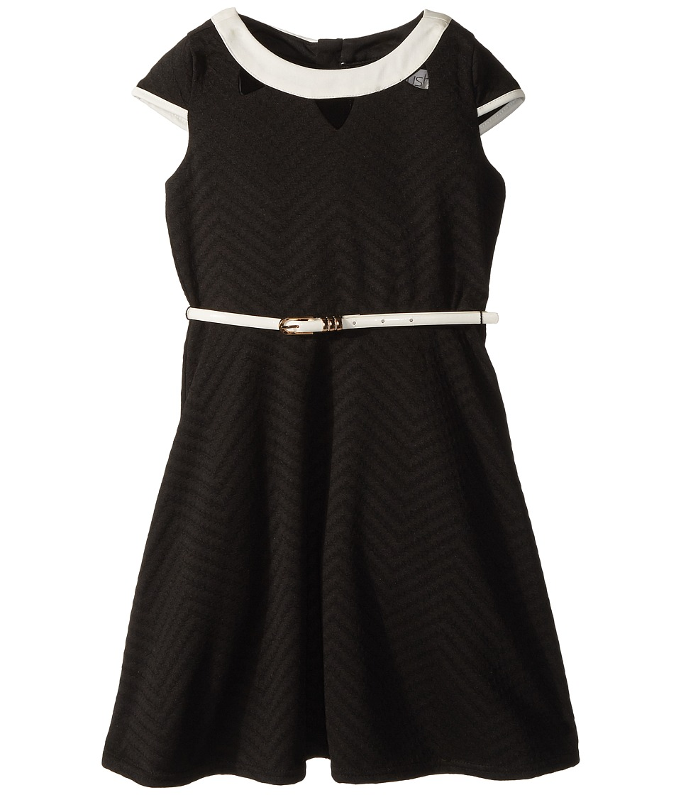 Us Angels - Cap Sleeve Fit Flare Textured Knit Dress with Cut Outs (Big Kids) (Black) Girls Dress