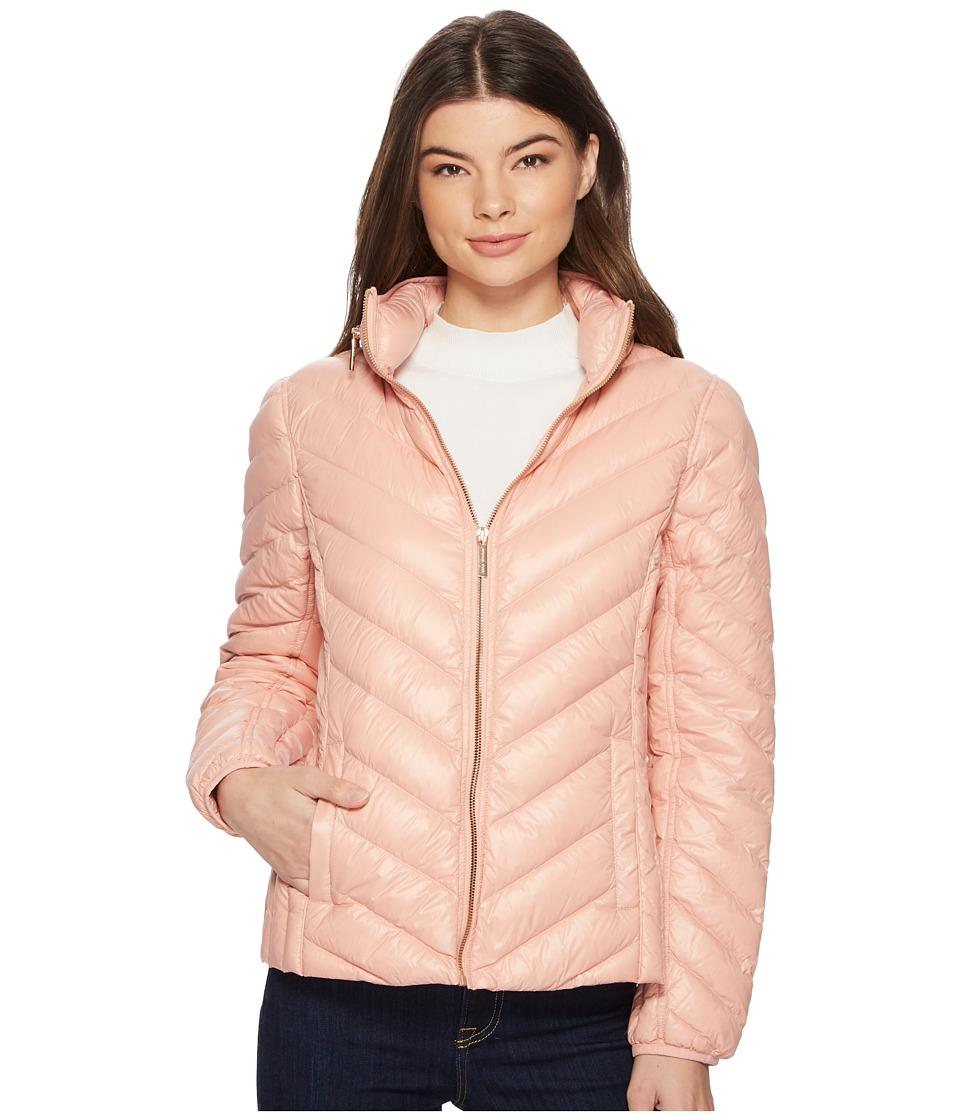 MICHAEL Michael Kors Zip Front Stand Collar Packable M823044F (Blush) Women