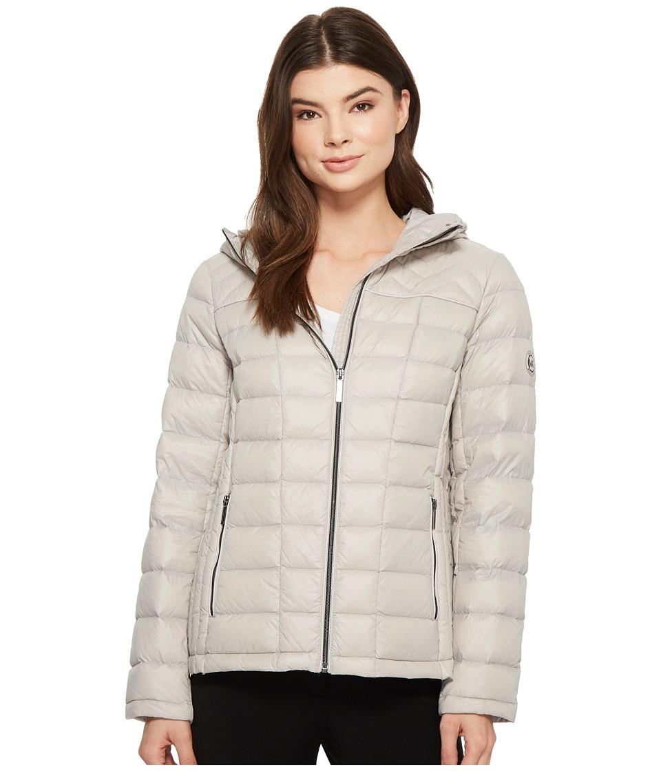MICHAEL Michael Kors Zip Front Hooded Packable M823394F (New Silver) Women