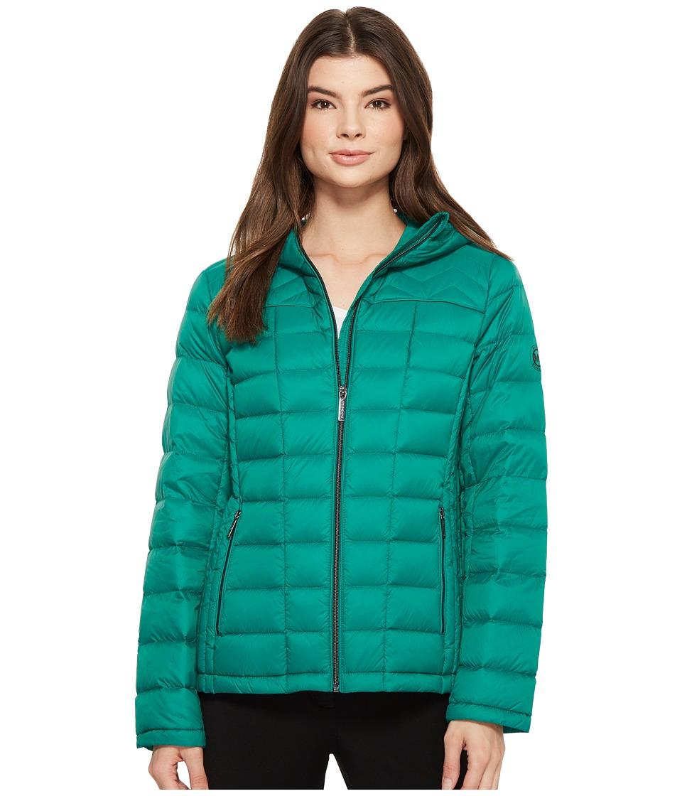 MICHAEL Michael Kors Zip Front Hooded Packable M823394F (Emerald) Women