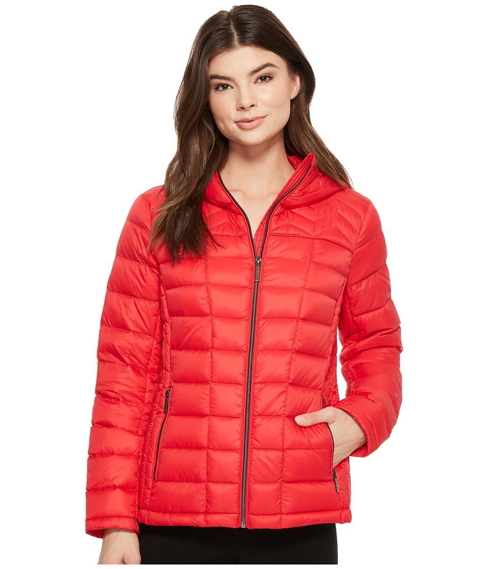 MICHAEL Michael Kors Zip Front Hooded Packable M823394F (True Red) Women