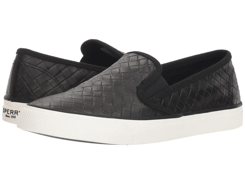 Sperry Seaside Emboss Weave (Black) Slip-On Shoes