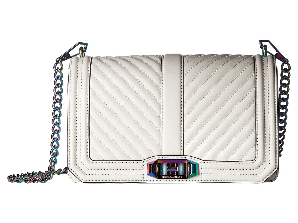 Rebecca Minkoff - Chevron Quilted Love Crossbody (Bianco) Cross Body Handbags