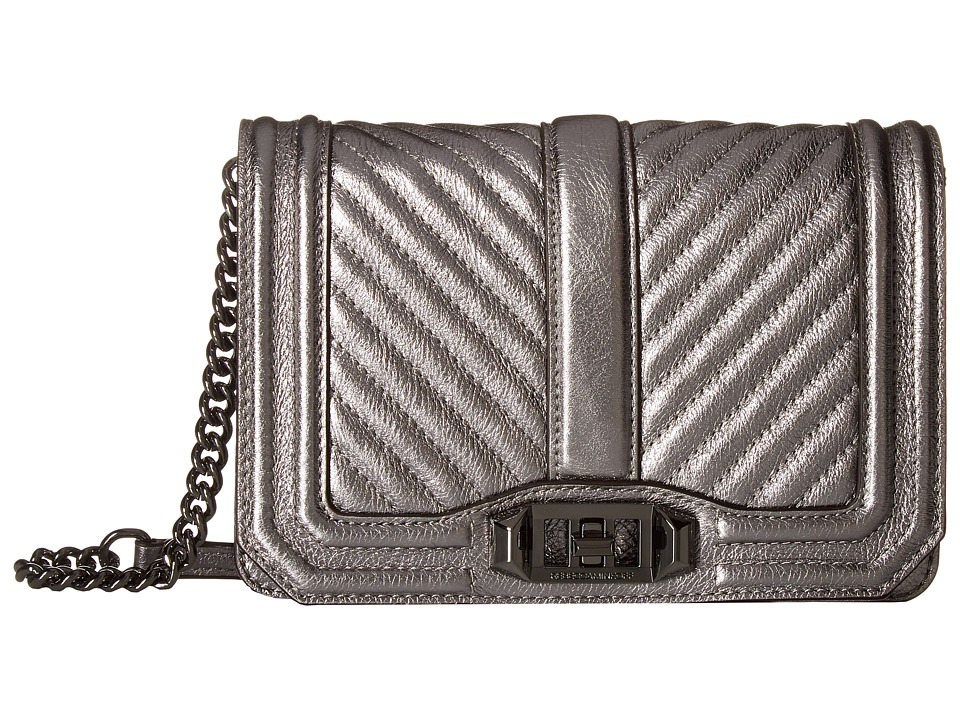 Rebecca Minkoff - Chevron Quilted Small Love Crossbody (Anthracite) Cross Body Handbags