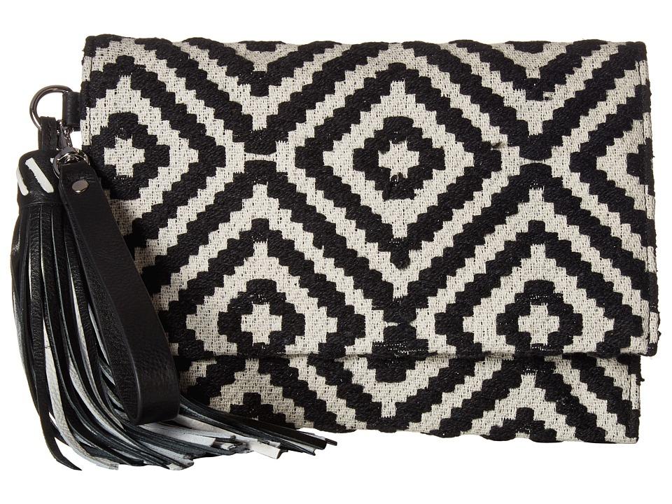 Rebecca Minkoff - Serra Fold-Over Clutch (Black/White) Clutch Handbags