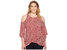 Lucky Brand Plus Size Cold Shoulder Open Front Top