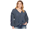 Lucky Brand Plus Size Cut Out Stripe Peasant Top