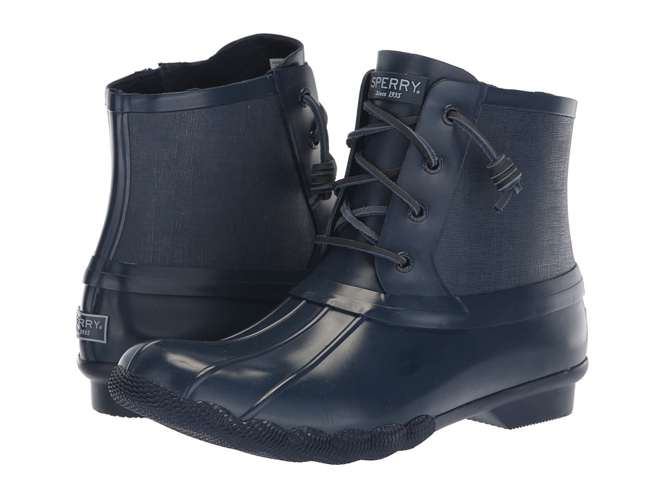 Sperry Saltwater Rubber Flooded (Navy) Women's Rain Boots