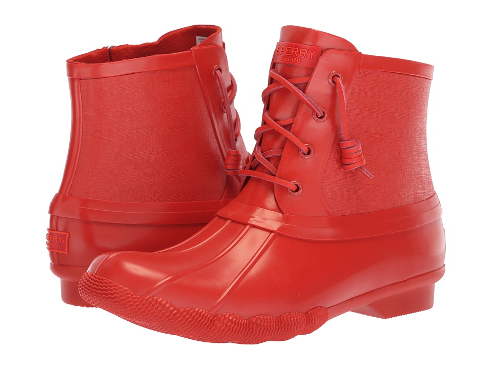 Sperry Saltwater Rubber Flooded (Red) Women's Rain Boots