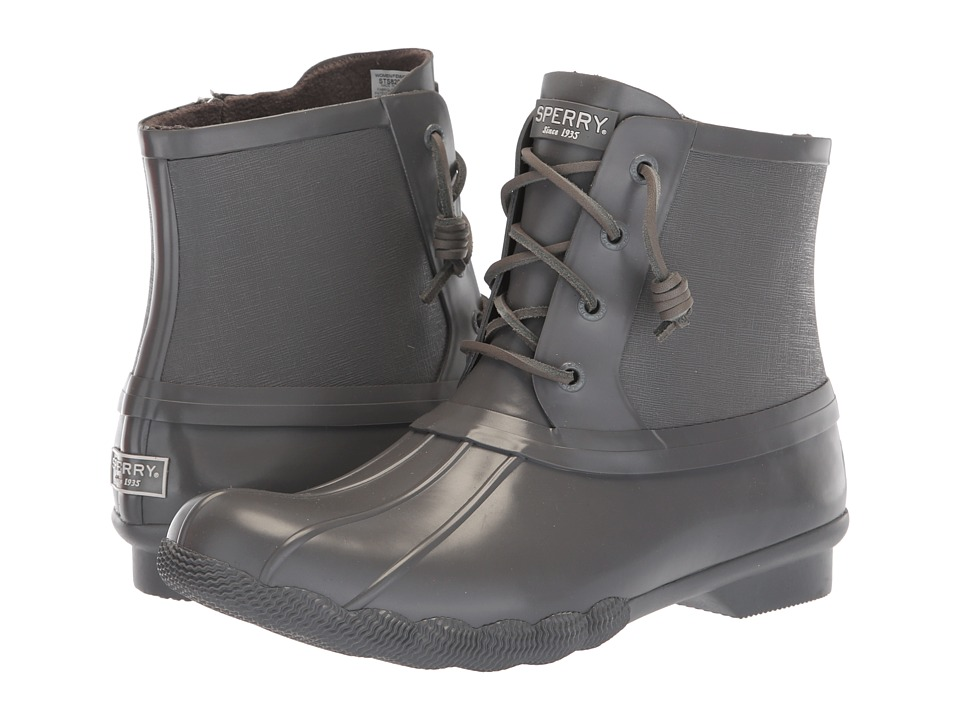 Sperry Saltwater Rubber Flooded (Dark Grey) Women's Rain Boots