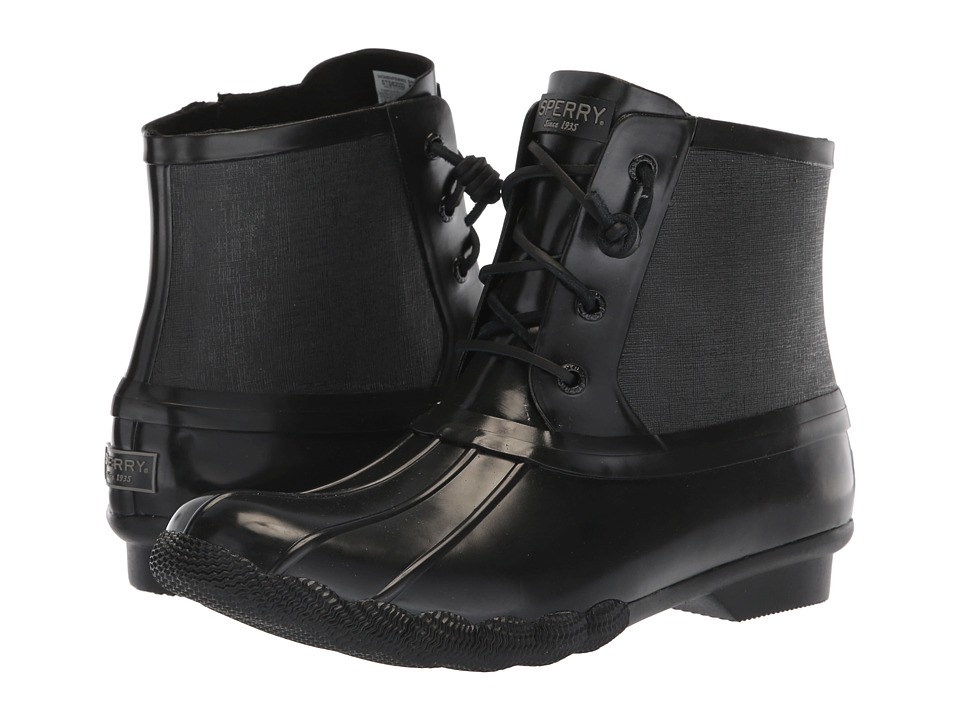 Sperry Saltwater Rubber Flooded (Black) Women's Rain Boots