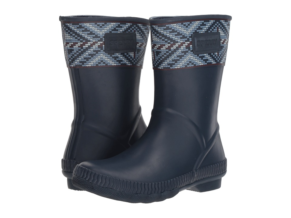 Sperry Saltwater Current (Navy Multi Fair Isle) Women's Rain Boots