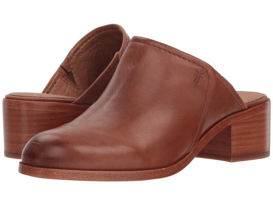 Frye Claire Mule (Cognac Waxed Pull Up) Women's Clog/Mule Shoes
