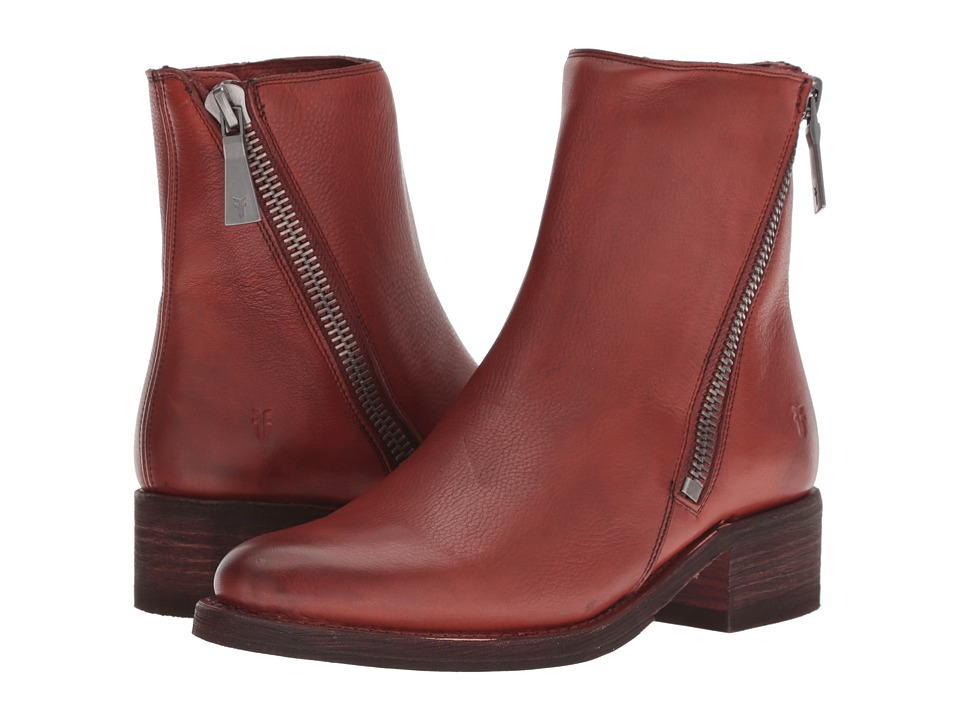 Frye Demi Zip Bootie (Red Clay Soft Full Grain)