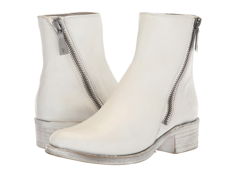 Frye Demi Zip Bootie (White Polished Soft Full Grain)