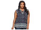 Lucky Brand Plus Size Lace-Up Printed Top