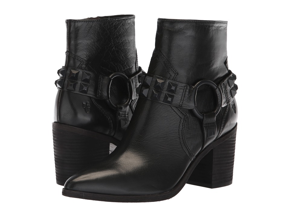Frye Flynn Deco Stud Harness Short (Black Polished Soft Full Grain) Women's Pull-on Boots