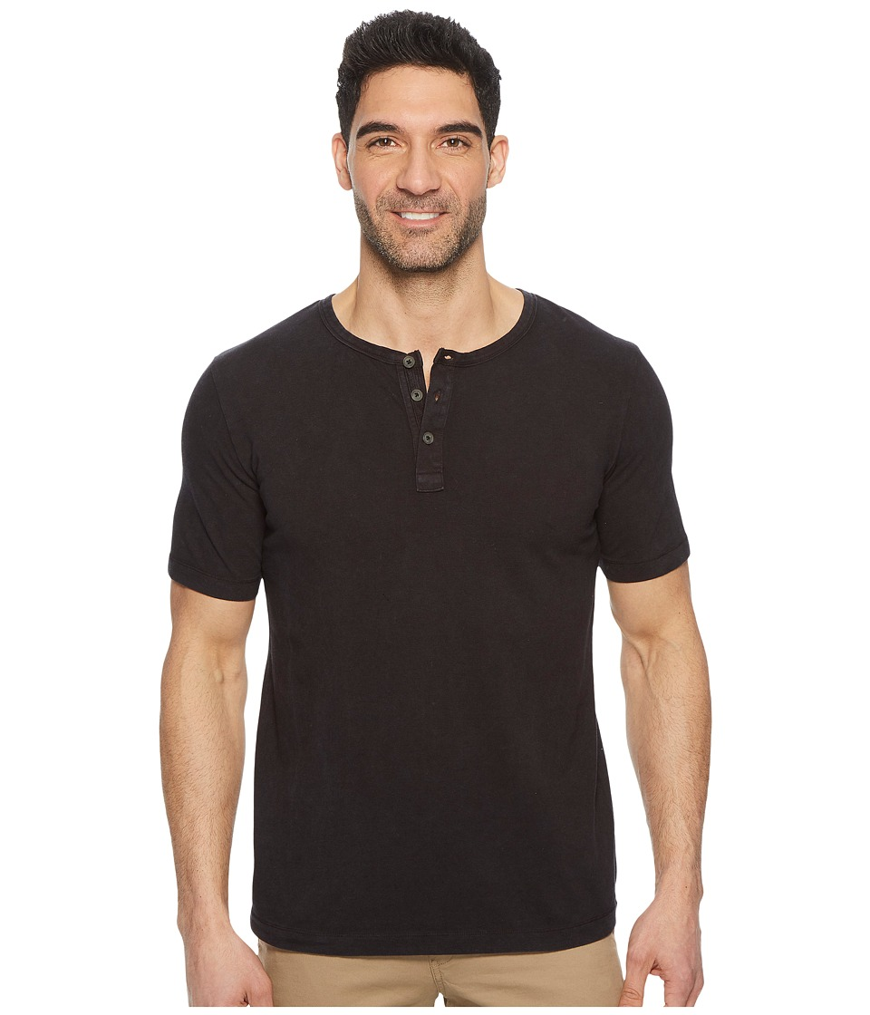 Mod-o-doc - Montecito Short Sleeve Henley (Black Stone) Mens Short Sleeve Knit