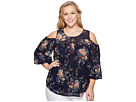 Lucky Brand Plus Size Printed Cold Shoulder Top