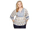 Lucky Brand Plus Size Mixed Print Top