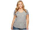 Lucky Brand Plus Size All Over Embroidered Tee