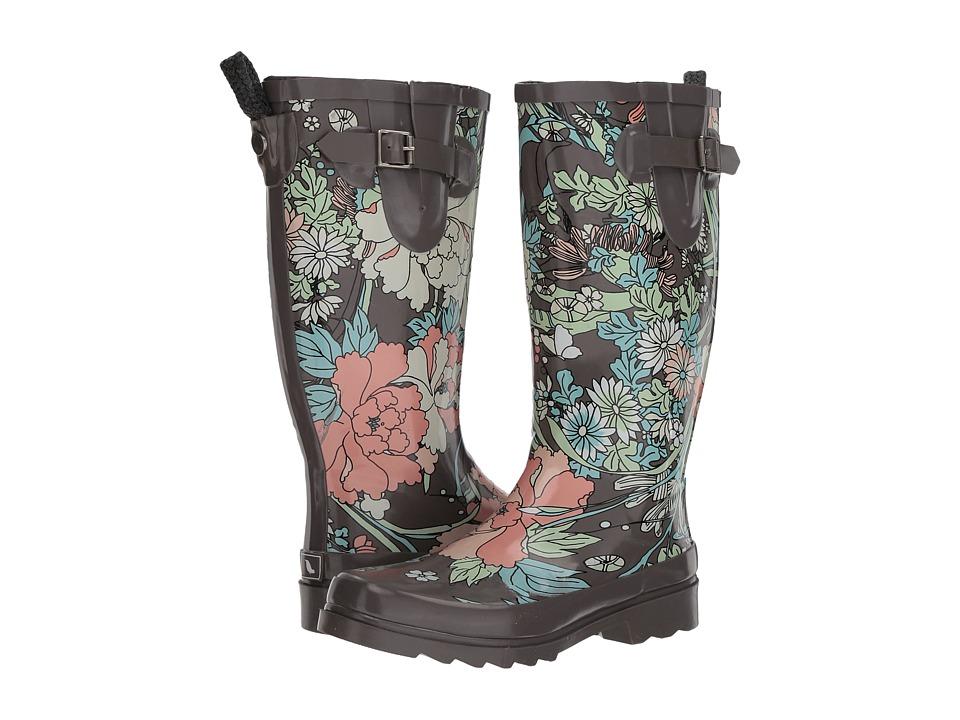 Sakroots Rhythm (Charcoal Flower Power) Women's Rain Boots