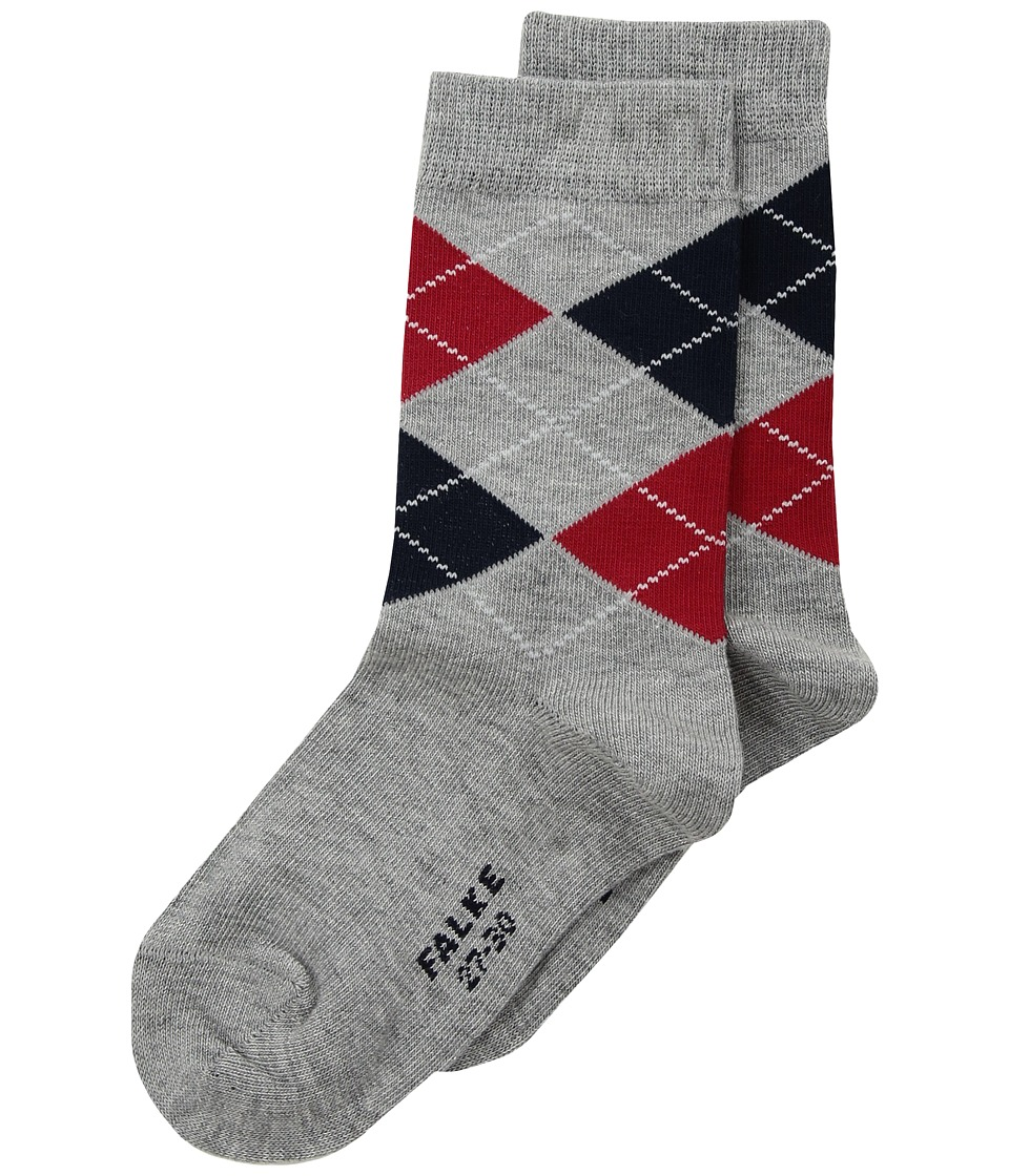 Falke Classic Argyle Socks (Toddler/Little Kid/Big Kid) (Light Grey Melange) Crew Cut Socks Shoes