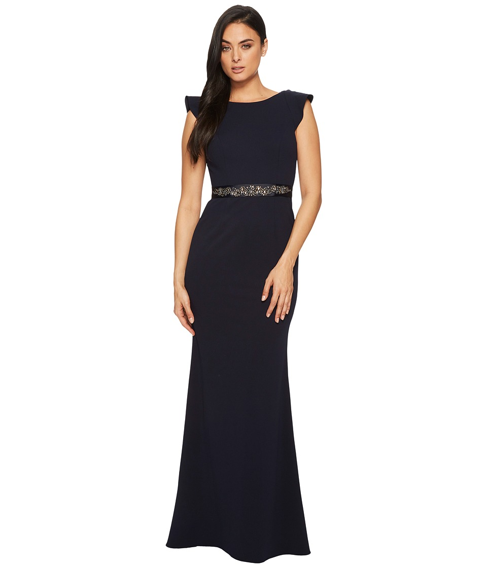 1930s Evening Dresses | Old Hollywood Dress Adrianna Papell - Fluttered Short Sleeve Beaded Crepe Gown Midnight Womens Dress $219.00 AT vintagedancer.com