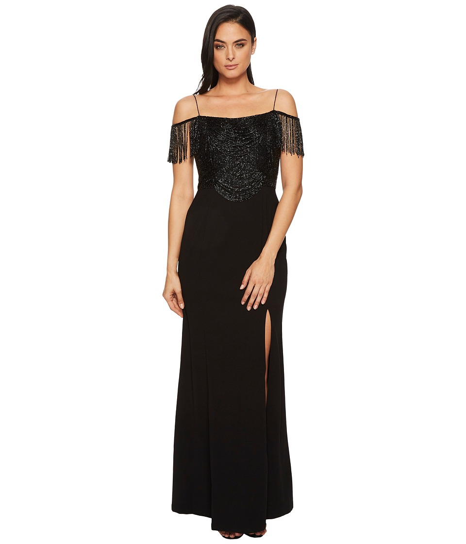 Adrianna Papell Fringe Knit Crepe Off the Shoulder Gown (...