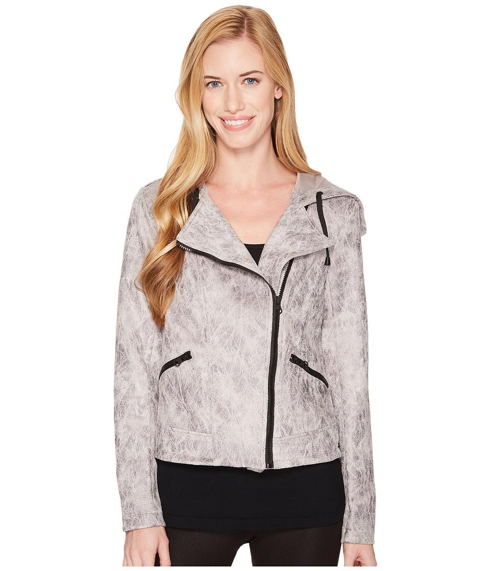 Blanc Noir - Hooded Moto Jacket (Vintage Grey 1) Womens Coat