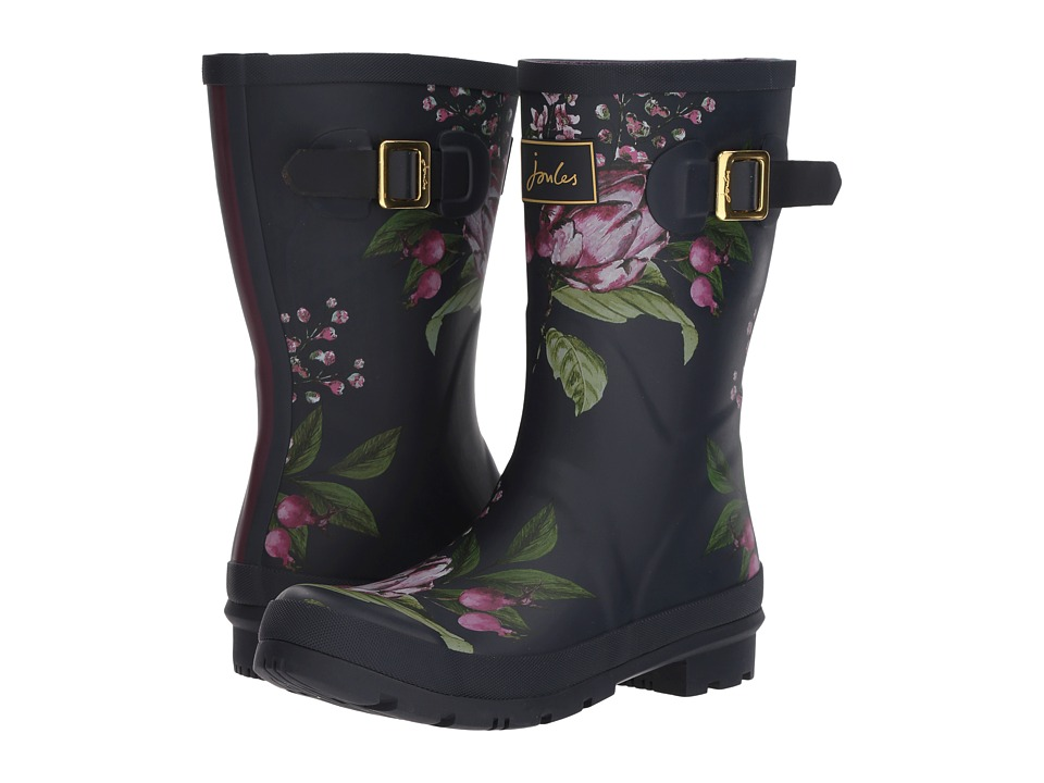 Joules - Mid Molly Welly (French Navy Artichoke Floral Rubber) Womens Rain Boots