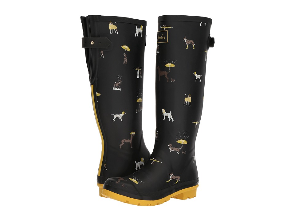 Joules Tall Welly Print (Black Raining Dogs Rubber) Women's Rain Boots