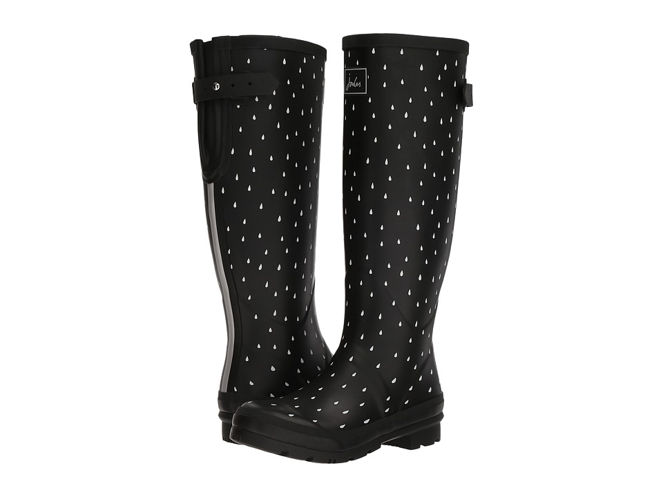 Joules Tall Welly Print (Black Raindrops Rubber) Women's Rain Boots
