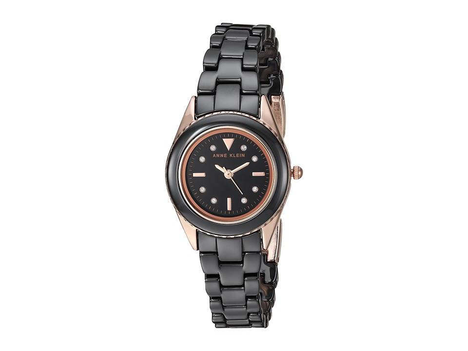 Anne Klein - AK-3164BKRG (Rose Gold-Tone/Black) Watches