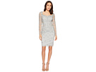 Adrianna Papell Short Beaded Long Sleeve Dress with Sweetheart Neckline
