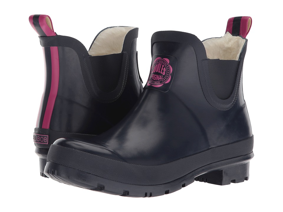 Joules - Wellibob - Faux Fleece (French Navy Rubber) Womens Rain Boots