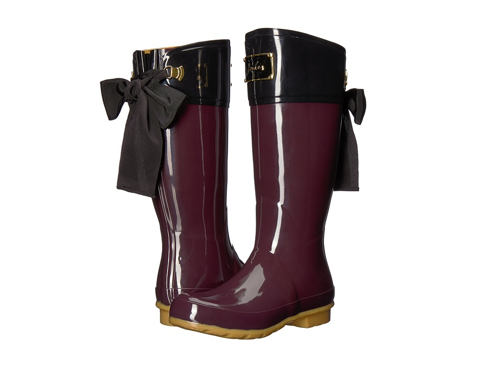 Joules Evedon Tall Boot (Burgundy Rubber) Women's Rain Boots