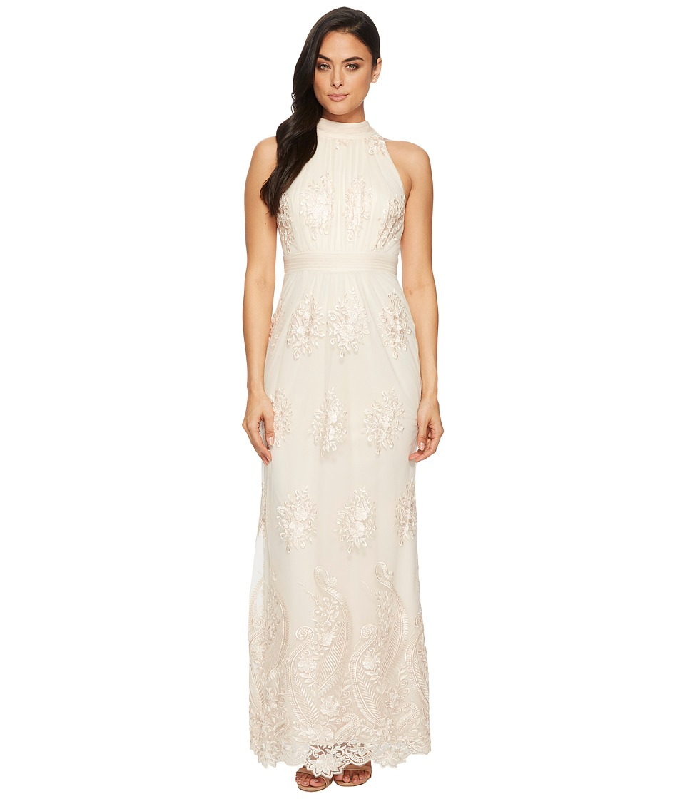 Adrianna Papell - Embroidered Halter Gown (Almond) Womens Dress