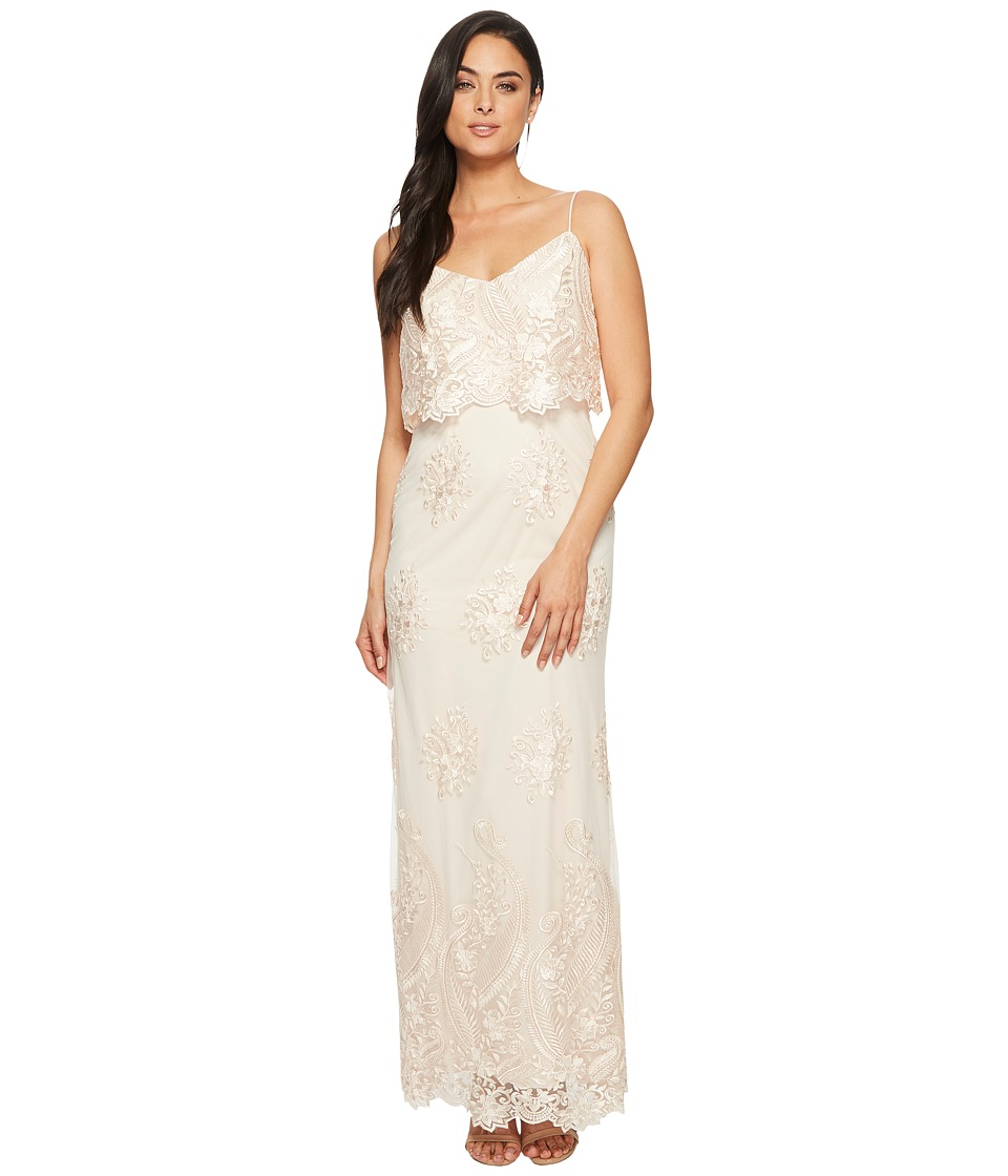 Adrianna Papell - Embroidered Popover Gown (Almond) Womens Dress