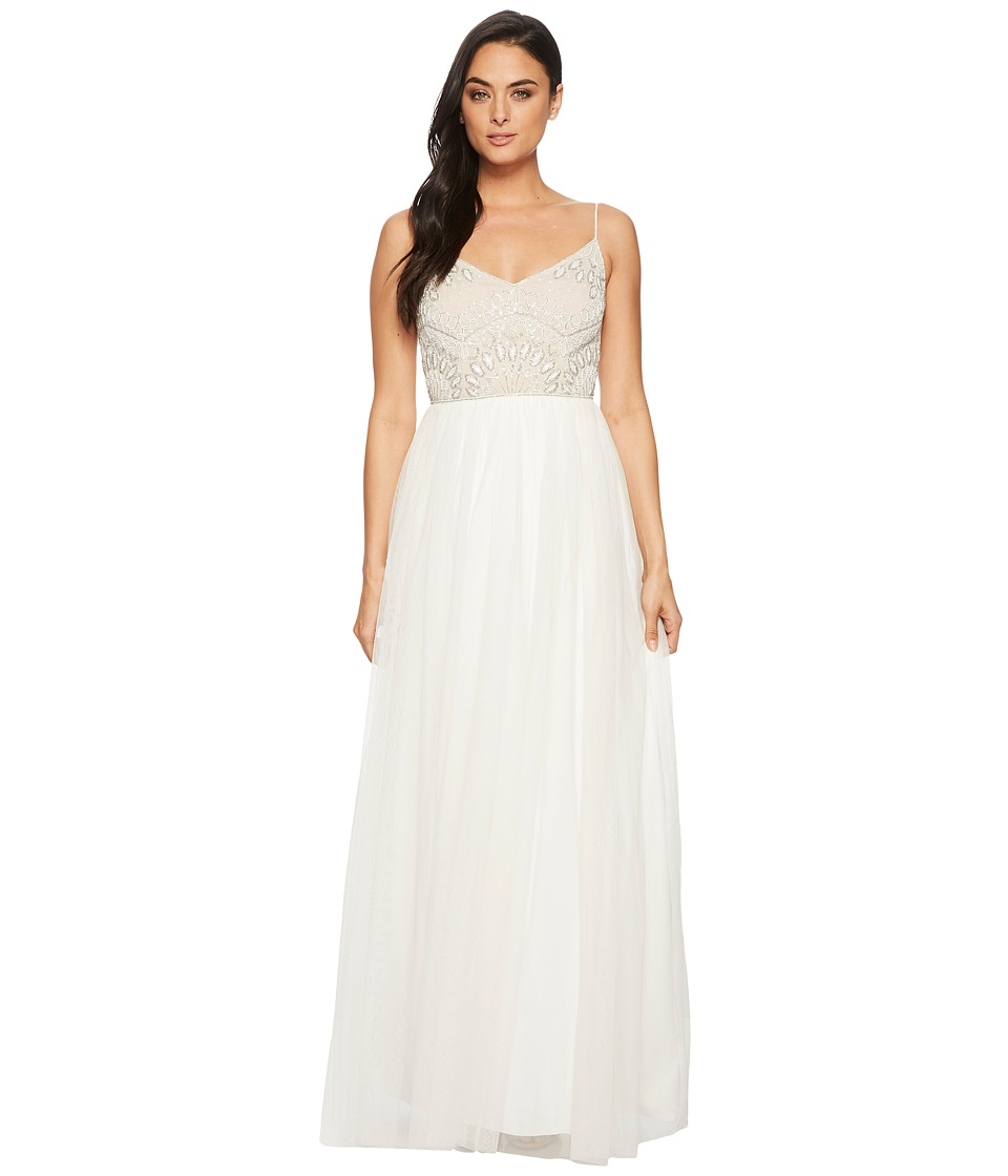 Adrianna Papell - Beaded Bridal Dress (Ivory/Nude) Womens Dress
