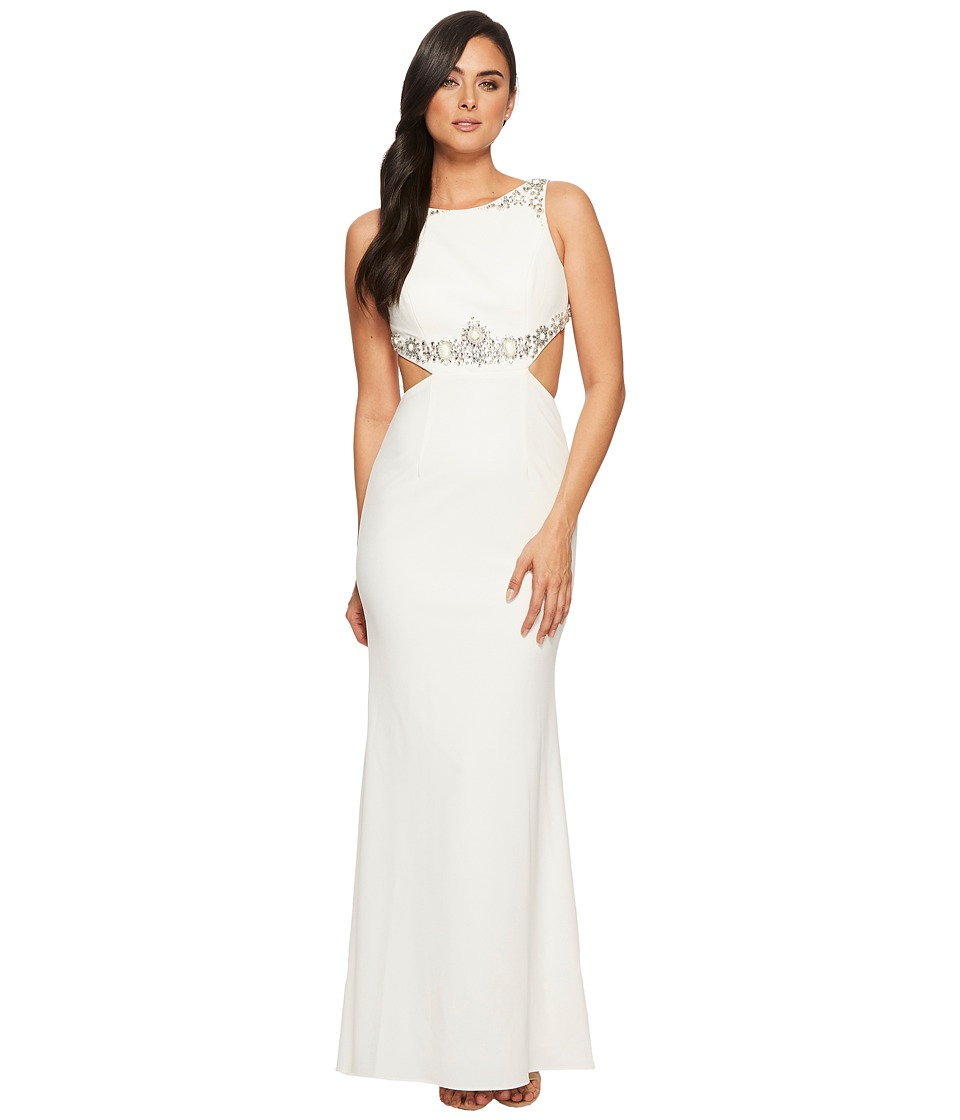 Adrianna Papell - Beaded Crepe Long Gown with Embellished Detail (Ivory) Womens Dress
