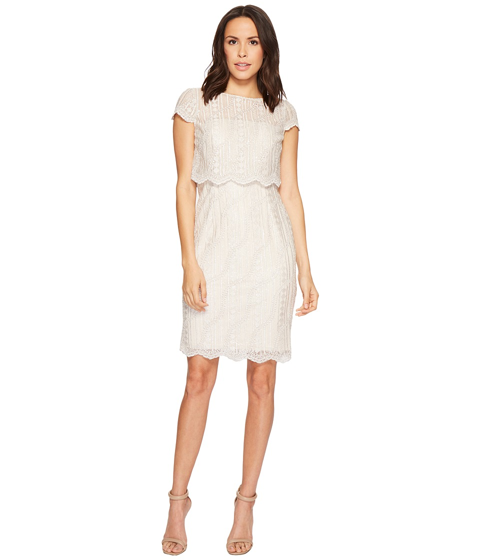 Adrianna Papell - Short Lace and Sequin Pop Over Top Cocktail Dress (Pearl) Womens Dress