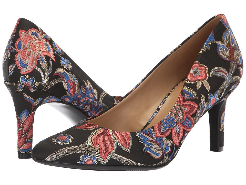 Naturalizer Natalie (Black Multi Floral Brocade Fabric) High Heels