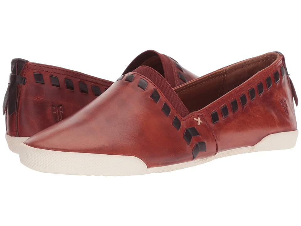 Frye Melanie Whip Slip-On (Red Clay Antique Pull Up/Polished Soft Full Grain) Slip-On Shoes