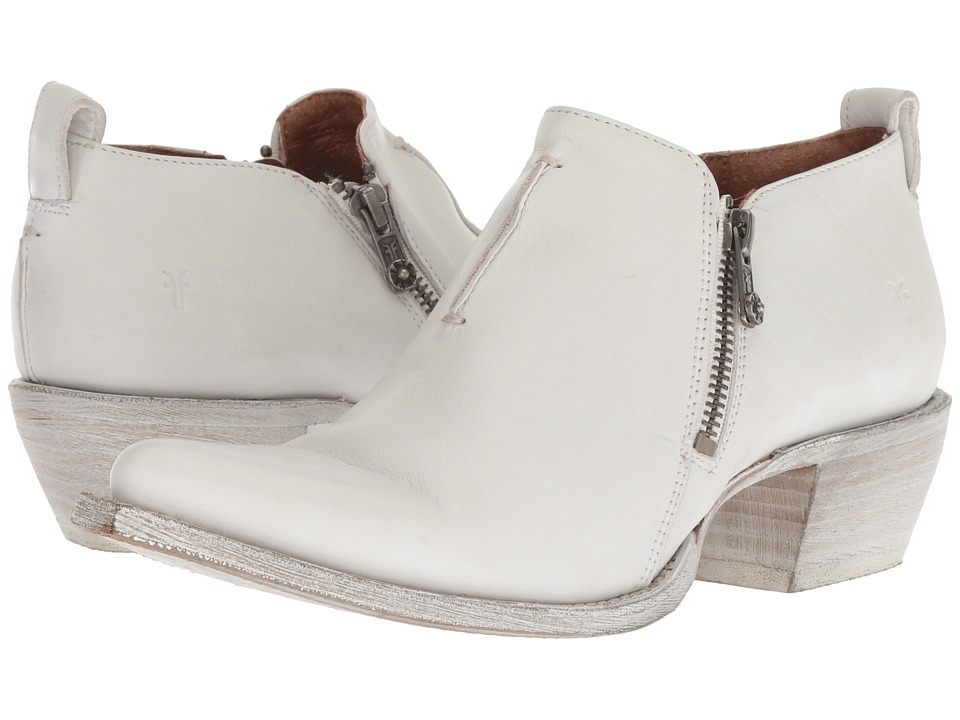 Frye Sacha Zip Shootie (White Waxed Full Grain) Women's Pull-on Boots